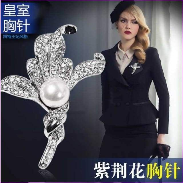 Silver 57mm*42mm Brooches leaf pearl Flowers Brooch pins Simple design for women - see chart 4 - Brooch