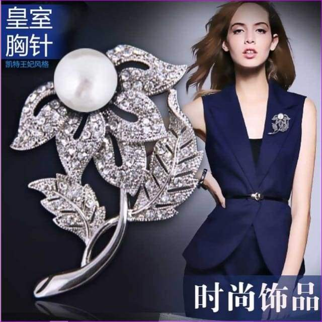 Silver 57mm*42mm Brooches leaf pearl Flowers Brooch pins Simple design for women - see chart 7 - Brooch