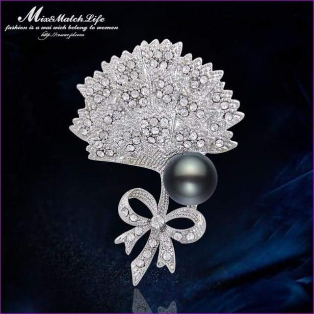 Silver 57mm*42mm Brooches leaf pearl Flowers Brooch pins Simple design for women - see chart - Brooch