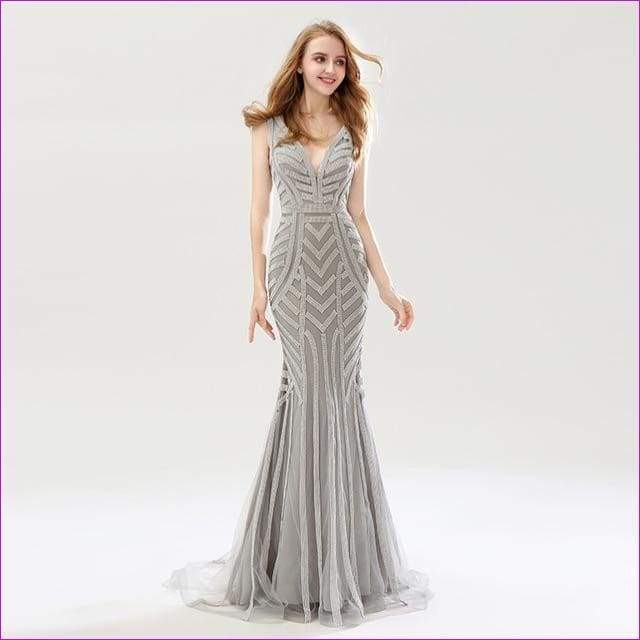 Silver Beading Mermaid Evening Dresses Sexy Tulle V-Neck Long Women Important Gowns - Silver / 6 - Evening Dresses