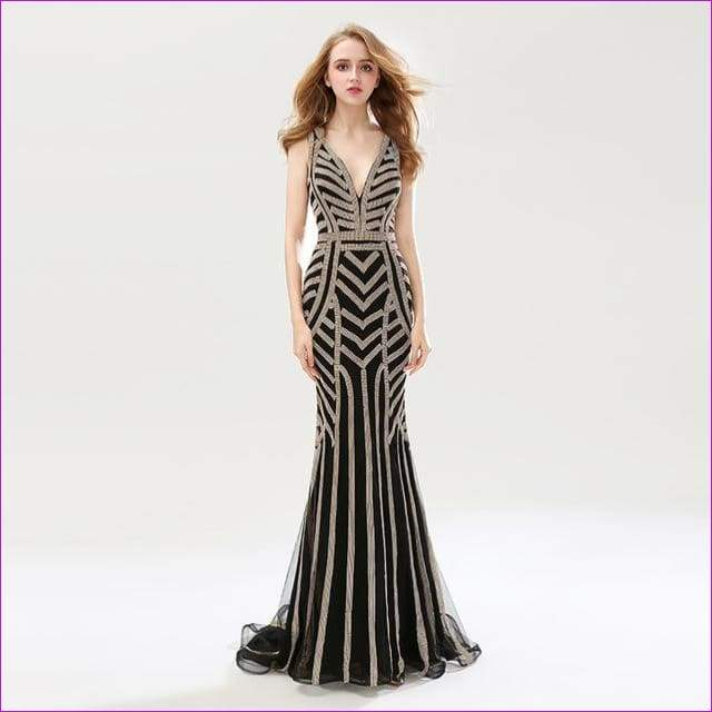 Silver Beading Mermaid Evening Dresses Sexy Tulle V-Neck Long Women Important Gowns - Black / 6 - Evening Dresses