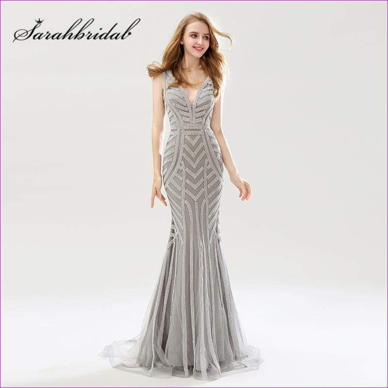 Silver Beading Mermaid Evening Dresses Sexy Tulle V-Neck Long Women Important Gowns - Evening Dresses