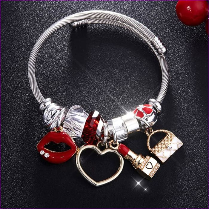 Silver Color Chain Red Lips Big Heart Crystal Bead Female Cuff Bracelets - Bracelets Bracelets