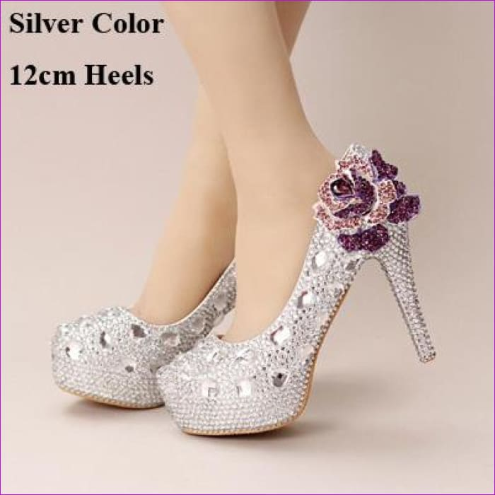 Silver Crystal Wedding Shoes Handmade Small Rhinestone Platform Bridal Shoes with Purple Crystal Rose - Silver 12cm Heels / 4 - High Heel
