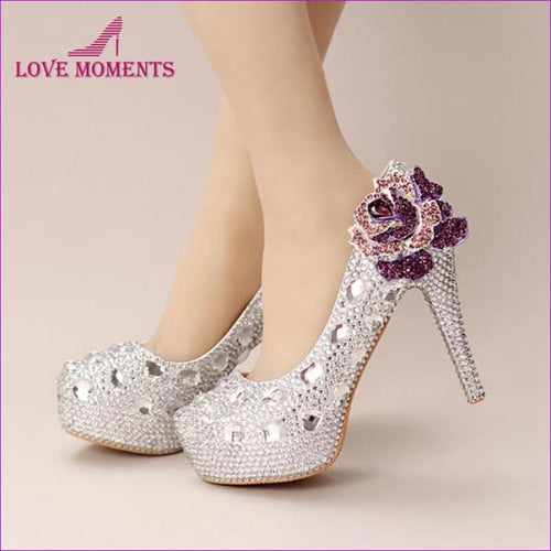 Silver Crystal Wedding Shoes Handmade Small Rhinestone Platform Bridal Shoes with Purple Crystal Rose - High Heel Shoes