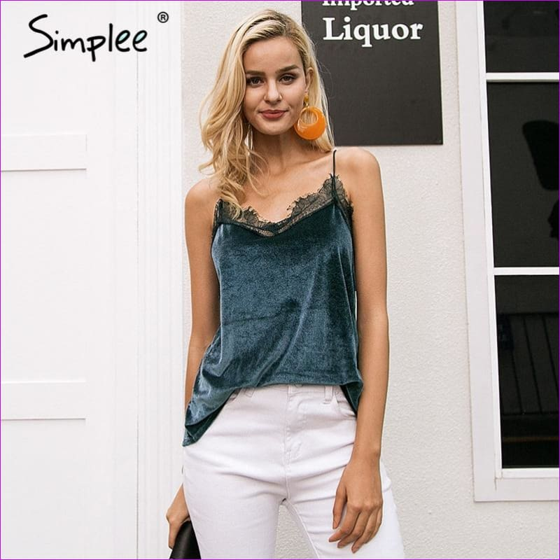 Simplee Casual strap velvet strap camisole women tank top Sexy button lace top female Spring streetwear backless chic cami 2018 - Camisole