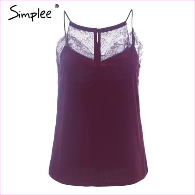 Simplee Casual strap velvet strap camisole women tank top Sexy button lace top female Spring streetwear backless chic cami 2018 - Wine red /