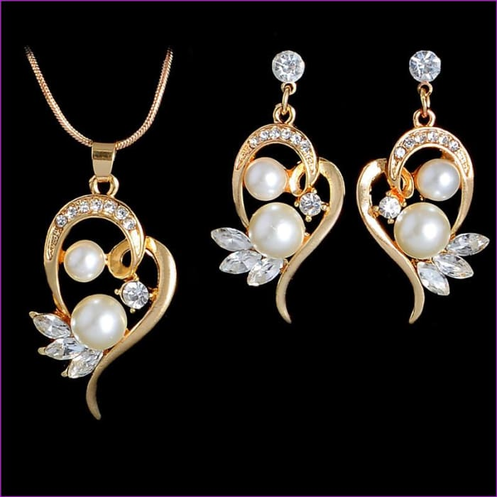 Simulated Pearl Jewelry Sets Wedding Flower Stud Earrings Crystal Pendant Necklace - Jewelry Sets Jewelry Sets