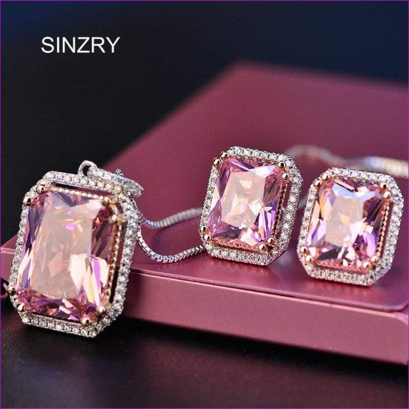 SINZRY 2018 Luxury jewelry Cubic Zirconia crystal Necklace Earring Set Pink sweety vintage geometry jewelry set for Women - Jewelry Sets
