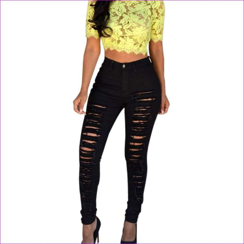 Skinny Ripped Holes Jeans High Waist Stretch Slim Pencil Trousers - Jeans