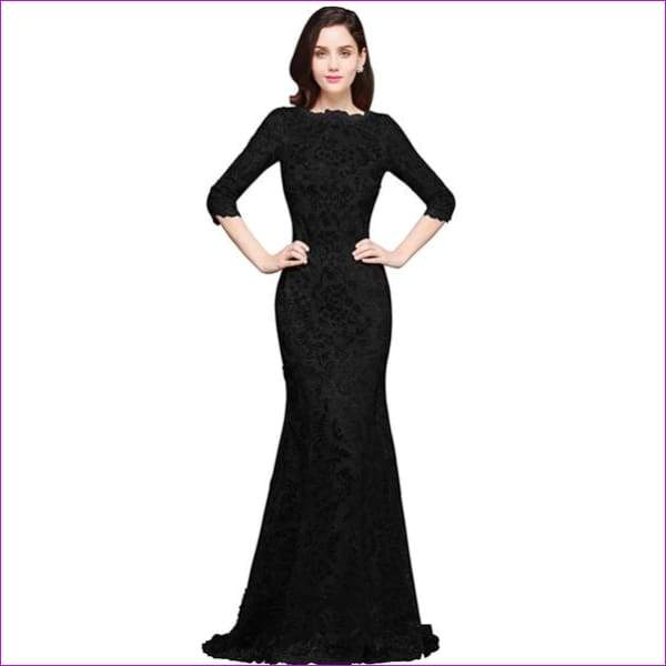 Sleeves Sequin Mermaid Evening Dresses Long Formal Dress Embroidery Evening Party Dresses - black / 6 - Evening Dresses
