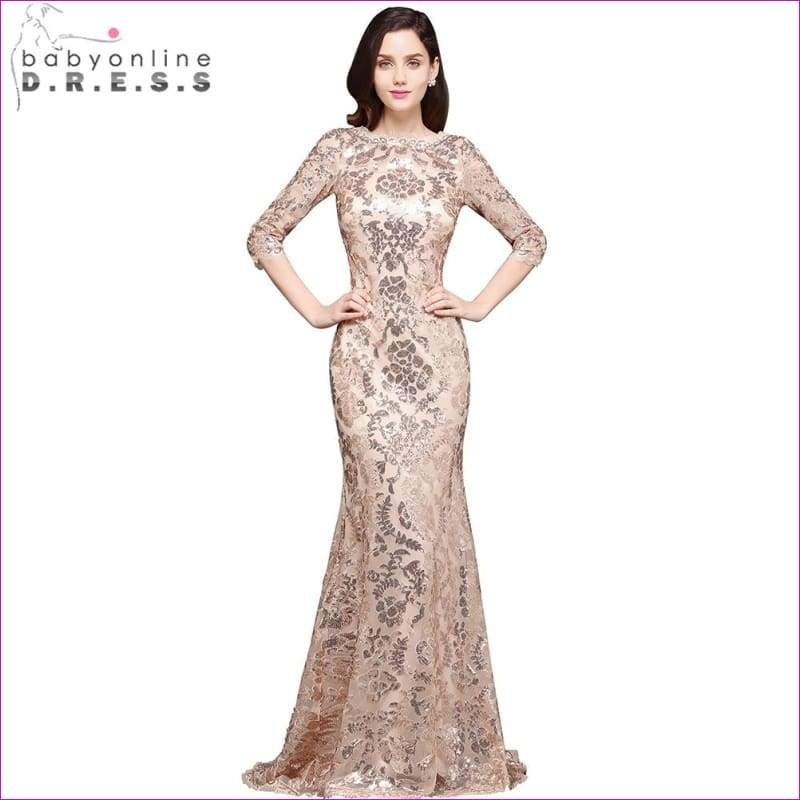 Sleeves Sequin Mermaid Evening Dresses Long Formal Dress Embroidery Evening Party Dresses - Evening Dresses