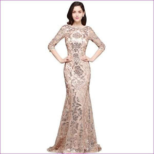 Sleeves Sequin Mermaid Evening Dresses Long Formal Dress Embroidery Evening Party Dresses - rose gold / 2 - Evening Dresses