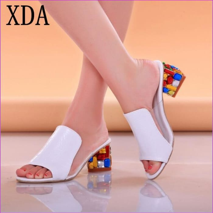 Slippers Shoes Women high Heels Sandals Fashion Rhinestone slipper - Sandals Beach Sandals cf-color-black cf-color-design-and-color