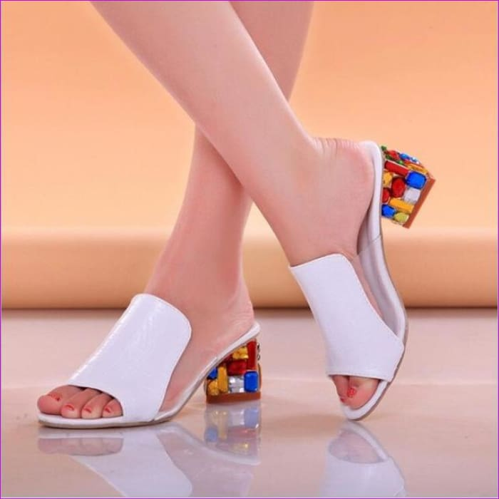 Slippers Shoes Women high Heels Sandals Fashion Rhinestone slipper - White / 4 - Sandals Beach Sandals cf-color-black