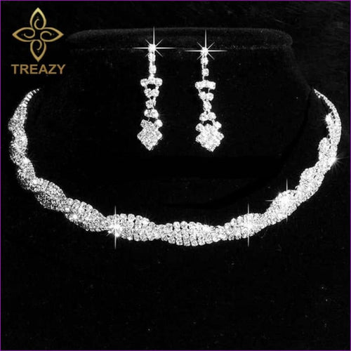 Sparkly Rhinestone Crystal Twisty Choker Necklace Earrings Set Silver Color - Bridal Jewelry Bridal Jewely