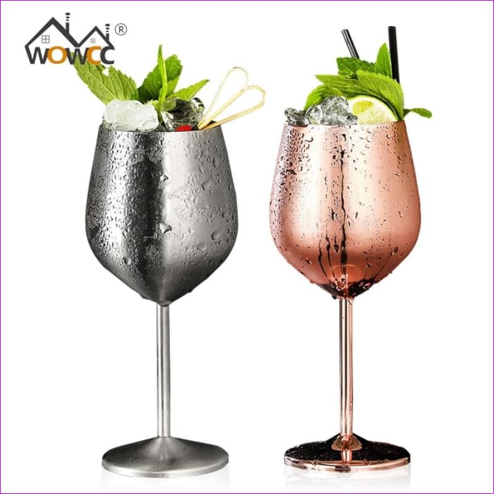 Stainless Steel Wine Glass Goblets Juice Drink Champagne Goblet Cocktail Glasses - Wine Glasses Wine Glasses