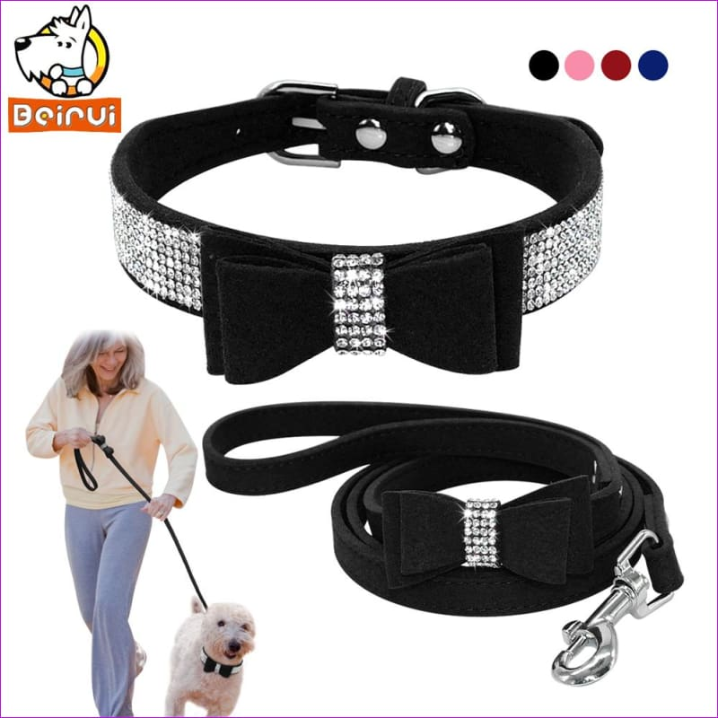 Suede Crystal Dog Pet Collar and Leads Set Rhinestone Bowknot Collars Leashes For Small Medium Dogs Puppy Chihuahua Yorkshire