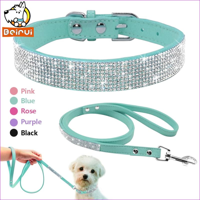 Suede Leather Dog Collar Leash Set Full Rhinestone Crystal Soft Material Adjustable Small Dogs Cat Pets Collars Leads Chihuahua - Dogs