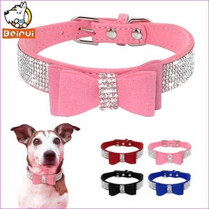 Suede Rhinestone Dog Collar Sparkly Crystal Bow Tie Dogs Cat Collars Bowknot Diamonds Collars for Small Medium Pets Kitten Puppy - Dogs