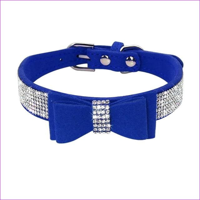 Suede Rhinestone Dog Collar Sparkly Crystal Bow Tie Dogs Cat Collars Bowknot Diamonds Collars for Small Medium Pets Kitten Puppy - Navy Blue