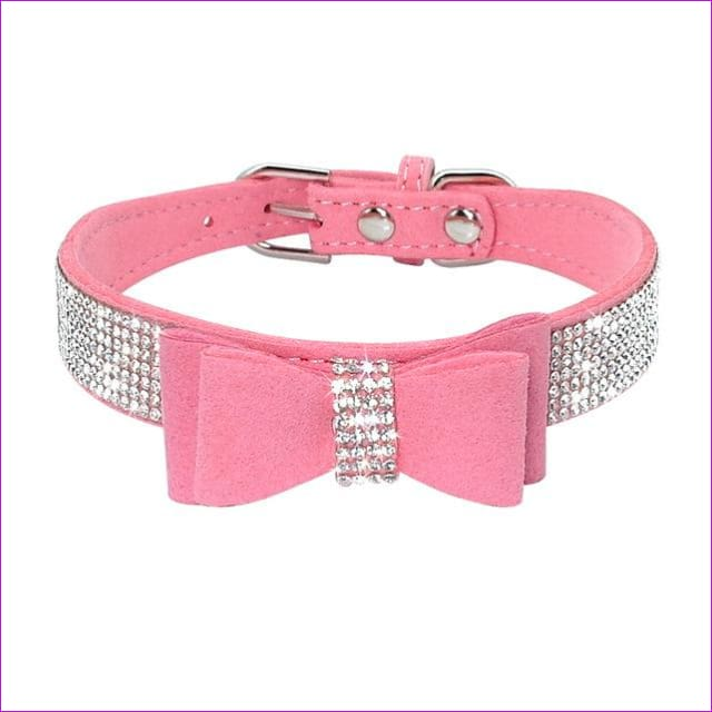 Suede Rhinestone Dog Collar Sparkly Crystal Bow Tie Dogs Cat Collars Bowknot Diamonds Collars for Small Medium Pets Kitten Puppy - Pink / M