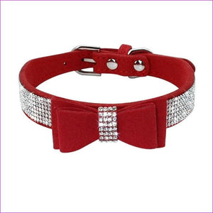 Suede Rhinestone Dog Collar Sparkly Crystal Bow Tie Dogs Cat Collars Bowknot Diamonds Collars for Small Medium Pets Kitten Puppy - Red / M -