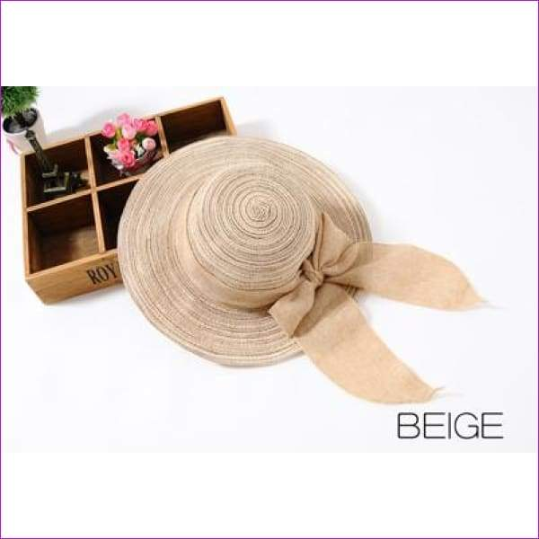 3f0f09043 Summer Hats for Women Outdoor Large Beach Straw Hat With Bow tie Casual  Woman's Sun Caps