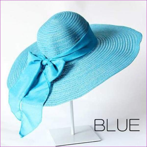Summer Hats for Women Outdoor Large Beach Straw Hat With Bow tie Casual Womans Sun Caps - BLUE - Beach Hats
