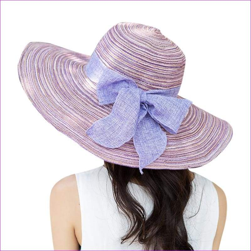 Summer Hats for Women Outdoor Large Beach Straw Hat With Bow tie Casual Womans Sun Caps - Beach Hats