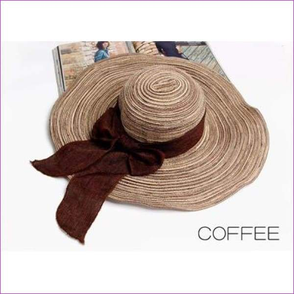 Summer Hats for Women Outdoor Large Beach Straw Hat With Bow tie Casual Womans Sun Caps - COFFEE - Beach Hats