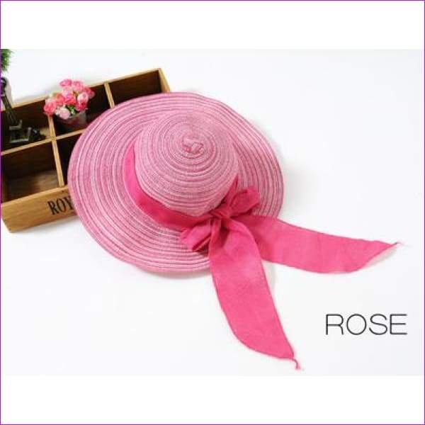 Summer Hats for Women Outdoor Large Beach Straw Hat With Bow tie Casual Womans Sun Caps - ROSE - Beach Hats