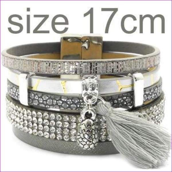 summer Leather bracelet 3 color 3 size charm bracelets for women Christmas gift wrap bangles wholesale - gray 17cm - Bracelets