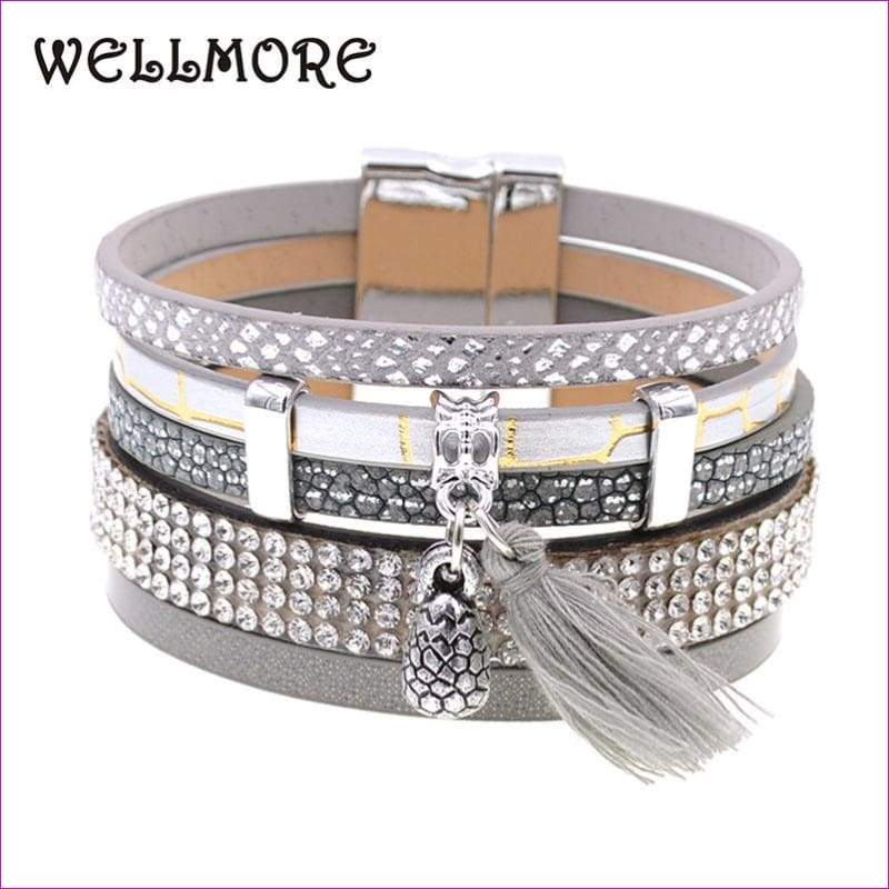 summer Leather bracelet 3 color 3 size charm bracelets for women Christmas gift wrap bangles wholesale - Bracelets