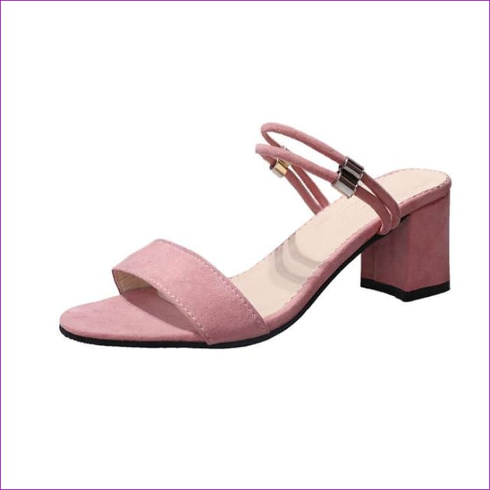 Summer PU Leather Women High Heels Sandals Concise Solid Flip Flops Ankle Strap Casual Shoes Woman - Pink / 6 - Sandals cf-color-black