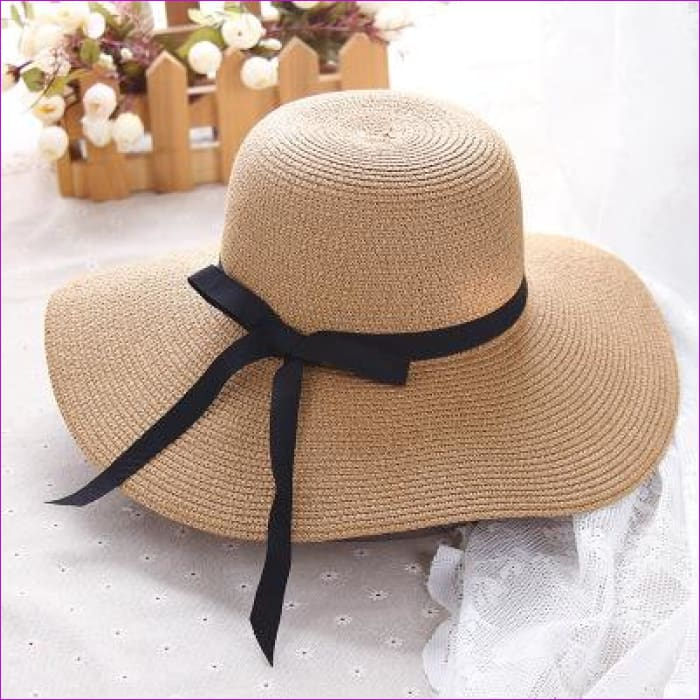 Summer straw hat women big wide brim beach hat sun hat foldable sun block UV protection panama hat bone chapeu - Khaki - Beach Hats Beach