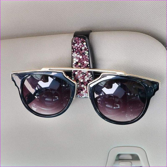 Sun Visor Sunglasses Fastener Clip Glasses Cases Rhinestone Diamond Styling - Sun Glasses