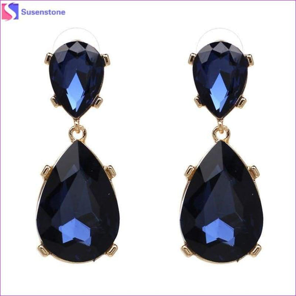 SUSENSTONE New Teardrop Pendant Long Rhinestone Crystal Fashion Women Party Dress Earring Simple alloy crystal drop pendant - Drop Earrings