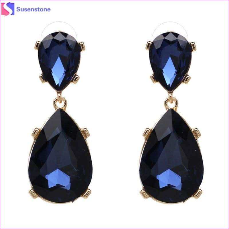 SUSENSTONE New Teardrop Pendant Long Rhinestone Crystal Fashion Women Party Dress Earring Simple alloy crystal drop pendant - Blue - Drop