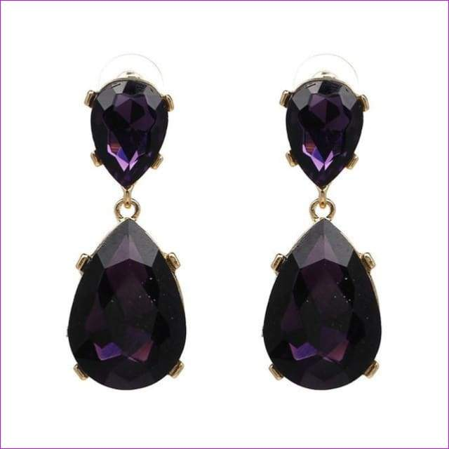SUSENSTONE New Teardrop Pendant Long Rhinestone Crystal Fashion Women Party Dress Earring Simple alloy crystal drop pendant - Purple - Drop