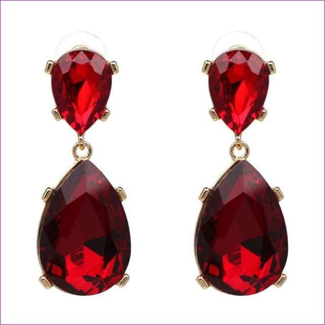 SUSENSTONE New Teardrop Pendant Long Rhinestone Crystal Fashion Women Party Dress Earring Simple alloy crystal drop pendant - Red - Drop