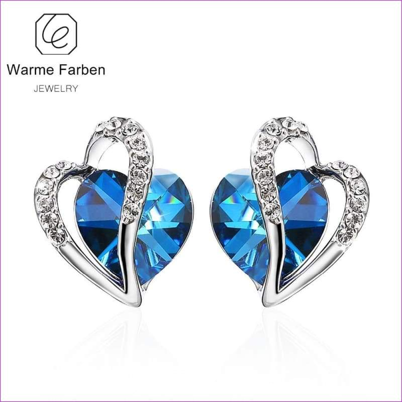Swarovski Earrings for Women Blue Heart Crystal Stud Earring 925 Sterling Sliver - Stud Earrings