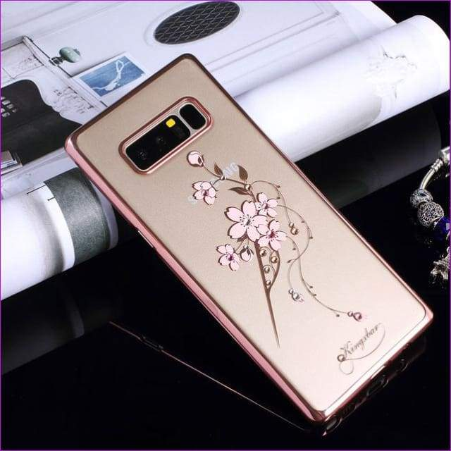 Swarovski Element Crystal Diamond Flower Rhinestone Case for Samsung Galaxy Note 8 Cover - E - Cell Phone Covers