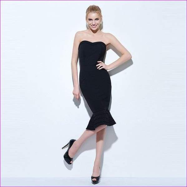 20c30aa5a6908 JCBling - Tanpell strapless cocktail dress black sleeveless knee ...