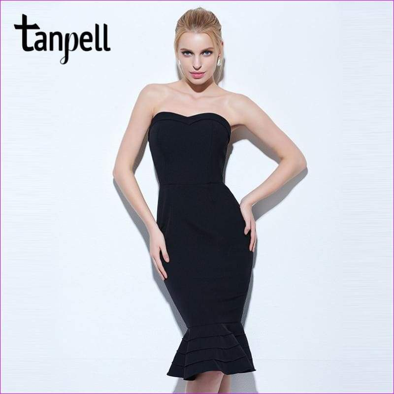 Tanpell strapless cocktail dress black sleeveless knee length mermaid gown women hourglass party formal short cocktail dresses - Cocktail