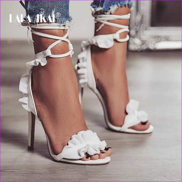 Thin Heel High Heels Sandals Women Pumps Thin Heel Ruffle Lace-Up - High Heel Shoes