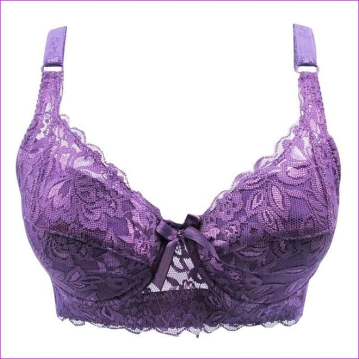 Thin women plus size bra C D New lace bra deep V big size bra Plus Size - 1328 purple / 80C - Bra Bras