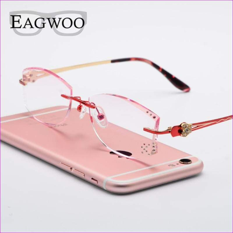 Tinted Colorful Lenses Woman Designed Rimless Prescription Glasses Reading Myopia Use MR-8 Crystal Eyeglasses - Reading Glasses