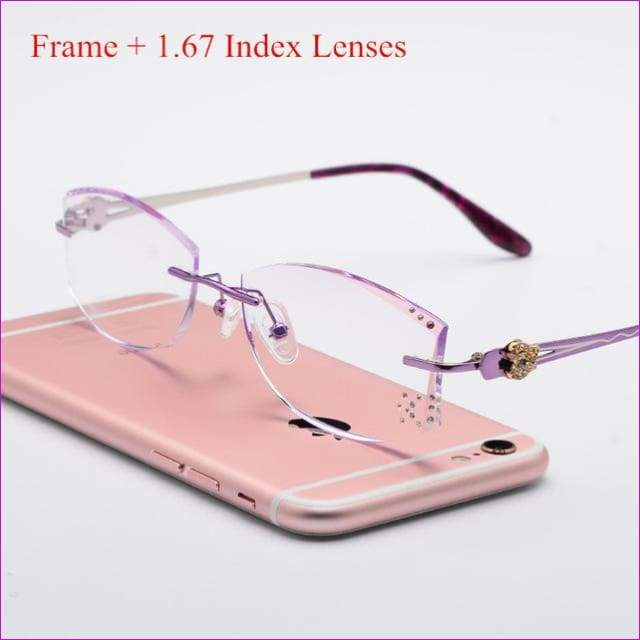 Tinted Colorful Lenses Woman Designed Rimless Prescription Glasses Reading Myopia Use MR-8 Crystal Eyeglasses - Purple 167 Lenses - Reading