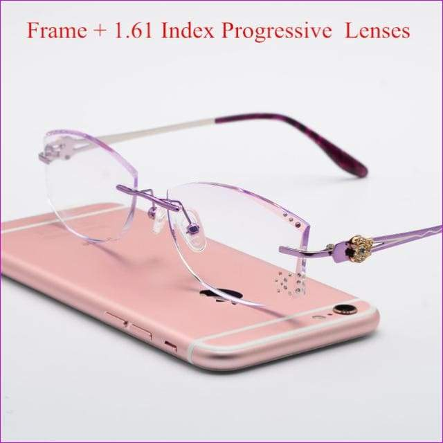 Tinted Colorful Lenses Woman Designed Rimless Prescription Glasses Reading Myopia Use MR-8 Crystal Eyeglasses - Purple Progressive - Reading